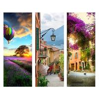 2PCS Door Stickers 3D DIY Mural With Ancient Town Trail Fields Pattern Self adhesive Sticker Wall Stickers For Door Home Decor