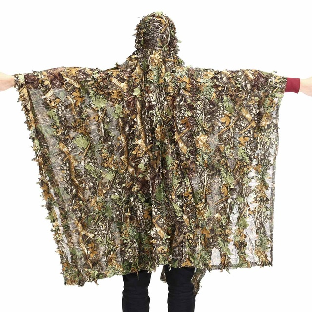 Охотничья одежда 3D листья Камуфляжный Маскировочный костюм пончо камуфляжная накидка плащ Невидимый Ghillie костюм военный CS лесной охотничья одежда