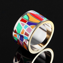 Luxury Brand Stainless Steel Rings for Women Wedding Jewelry Colorful Design Enamel Anel Aneis Jewelry Rings Trendy Party Gifts