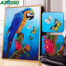 AZQSD Special Shaped Full Kits Diamond Mosaic Animal Painting Bird&Flower Handicraft Partial Drill Home Decor 40x50cm