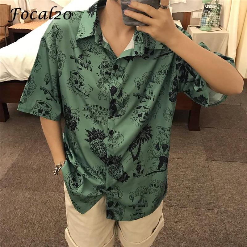 Focal20 Harajuku Devil Flamingo Print Female   Blouse     Shirts   Turn-down Collar Short Sleeve Summer Loose Green Women   Shirt     Blouse