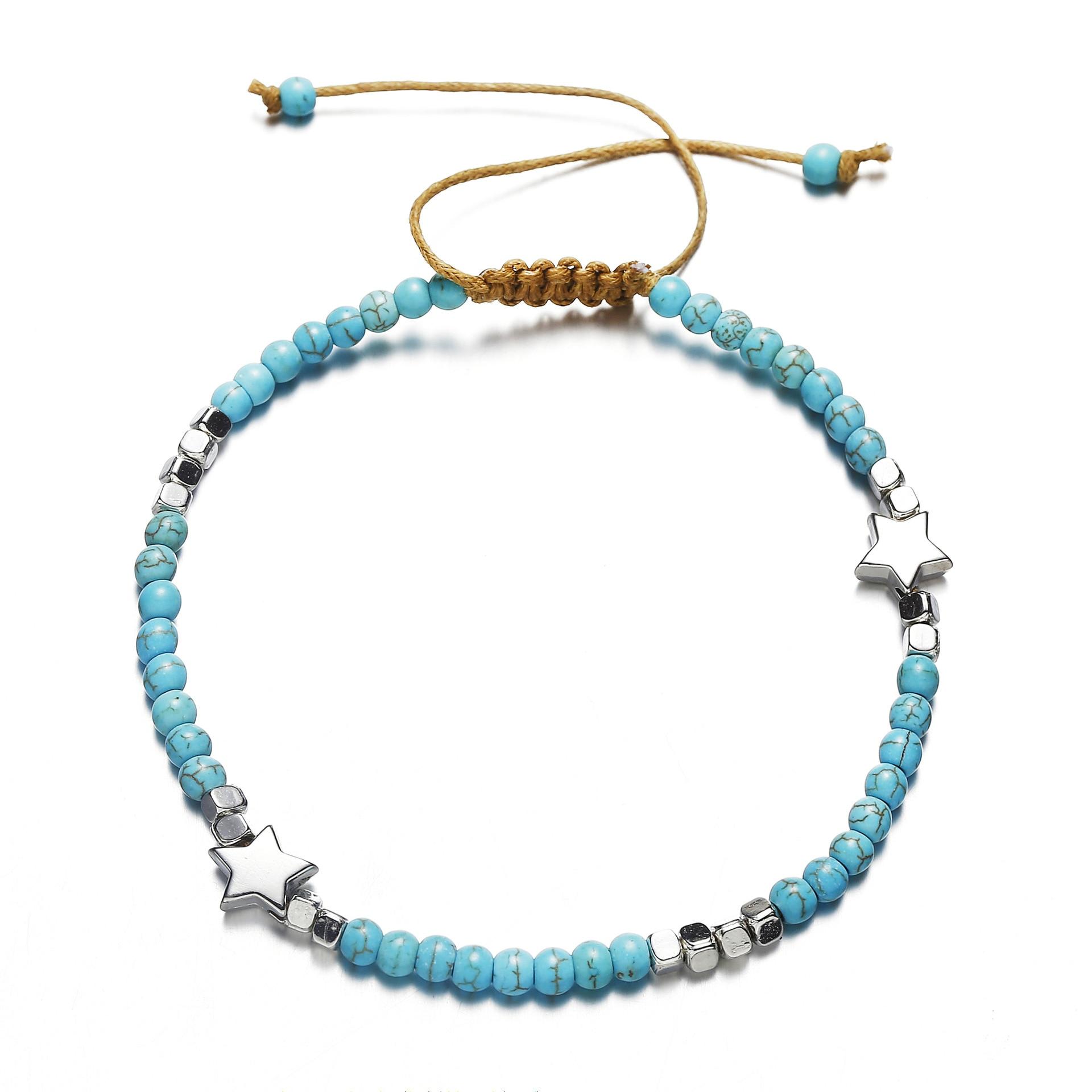 Купить женские пляжные браслеты с бусинами богемные цепочкой лето 2019