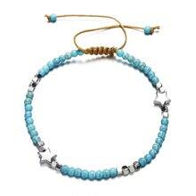 Женские пляжные браслеты с бусинами богемные цепочкой лето 2019