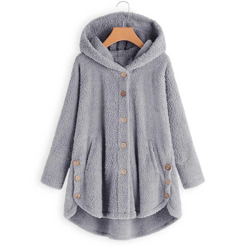 2019 Plus Size Winter Vrouwen Casual Solid Hooded Lange Mouw Knop Split Party Warme Pluizige Jassen Batwing Jassen Uitloper Vrouwelijke