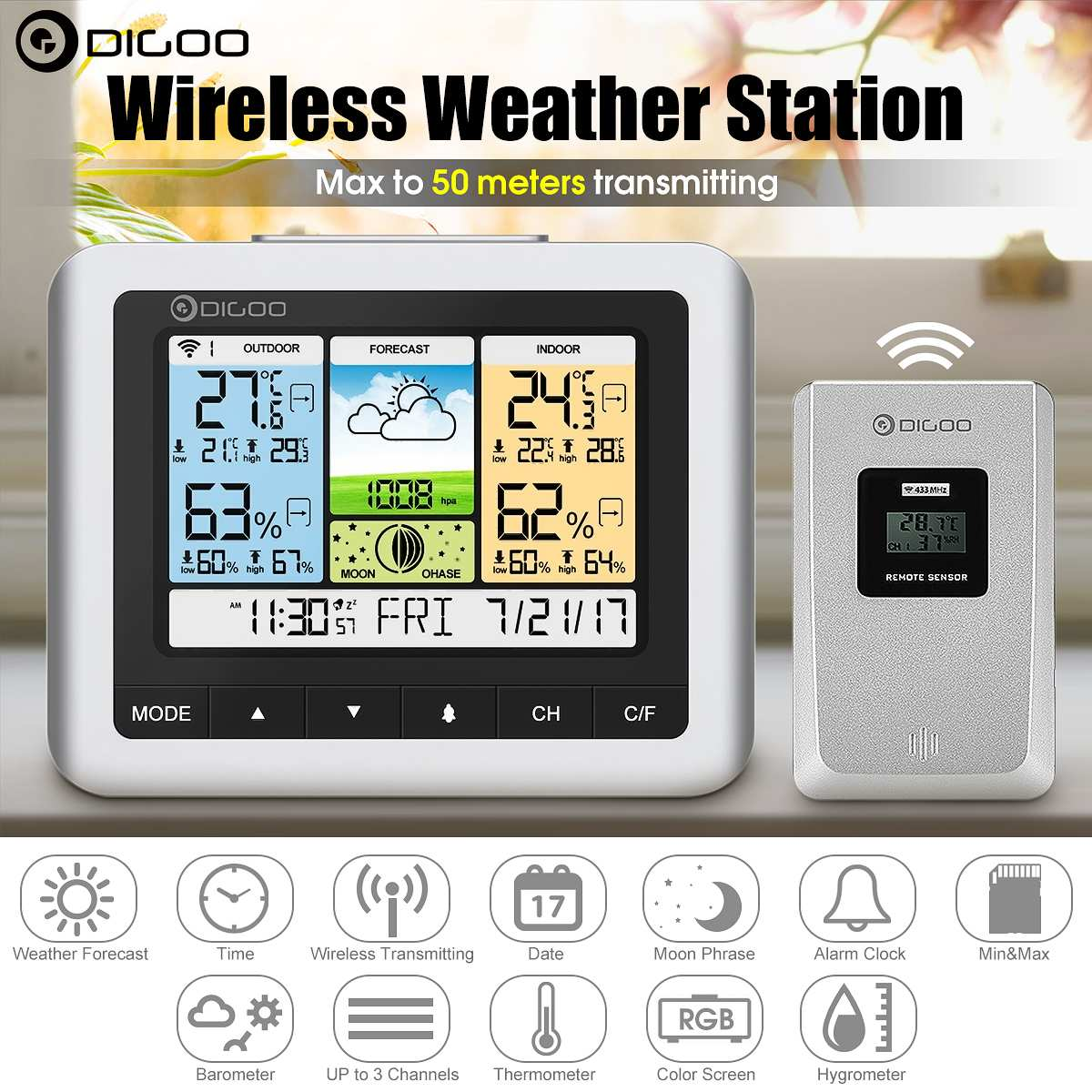 Dg Home Us 14 46 41 Off Digoo Dg Th8888 Usb Outdoor Forecast Sensor Weather Station White Color Wireless Home Digital Thermometer Humidity Meter Clock In