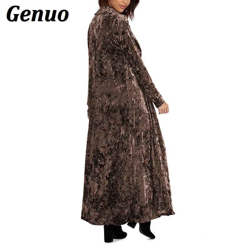 Genuo Casacos Mulheres Outono Manga Longa Reta Sólida Longo Casaco De Veludo Casaco de lã Magro Ocasional Outwear Jaqueta Plus Size Casaco