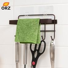 ORZ Kitchen Storage Organizer Heavy Duty Towel Rack Roll Paper Holder with Hooks Bathroom Hanger Shelf Home organization