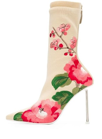 Hot Selling Women Autumn Flower Embroider Sock Boots Fashion Pointed Toe Back Zipper High Thin Heel Boots High QualityHot Selling Women Autumn Flower Embroider Sock Boots Fashion Pointed Toe Back Zipper High Thin Heel Boots High Quality