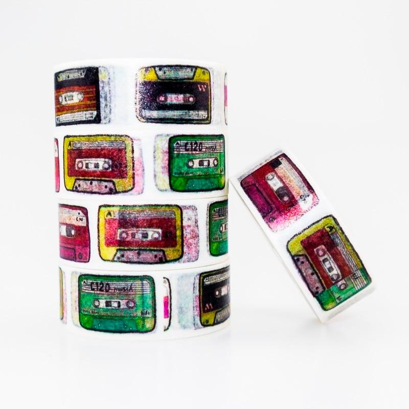 Colorful Music Tape Pattern Washi Masking Tape Sticky Color Decorative Tape Set DIY Decoration Office Stationery Scrapbook 1PCS