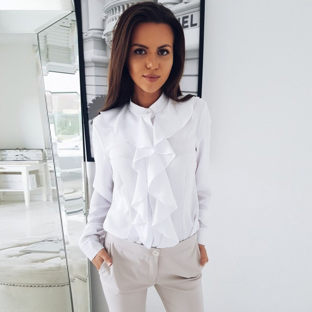 5c153609c2 2019 Long Sleeve Lotus Leaf Edge V Neck Ladies Office Shirts Elegant Button  Womens Tops And Blouses Camisas Mujer Ez
