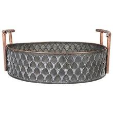 Европейская винтажная корзина для фруктового хлеба ручной работы, Круглые античные металлические поддоны с ручками, ретро стол для кухни, хранение для домашнего декора