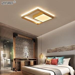 Image 4 - Kare Led tavan ışıkları oturma odası yatak odası uzaktan kumanda Lamparas De Techo Moderna altın kahve çerçeve ev armatürleri