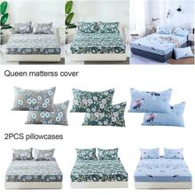 Queen Bed Fitted Sheet Cover Floral Printed Soft Pillow Case