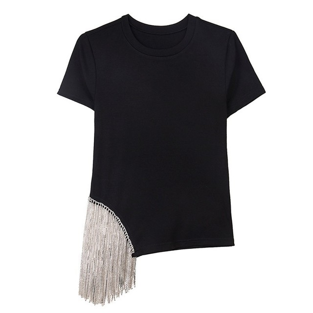 TWOTWINSTYLE Casual Solid Women T Shirt Diamonds Tassel Patchwork O Neck Short Sleeve Tops Female Fashion 2019 Summer Korean New 1