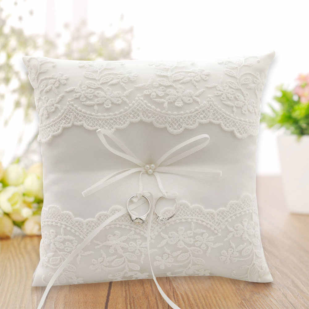 1pc 20 x 20cm Romantic Ring Pillow with Crystal Rhinestone Ring Cushion Wedding Marriage Celebration DIY Decoration Supplies