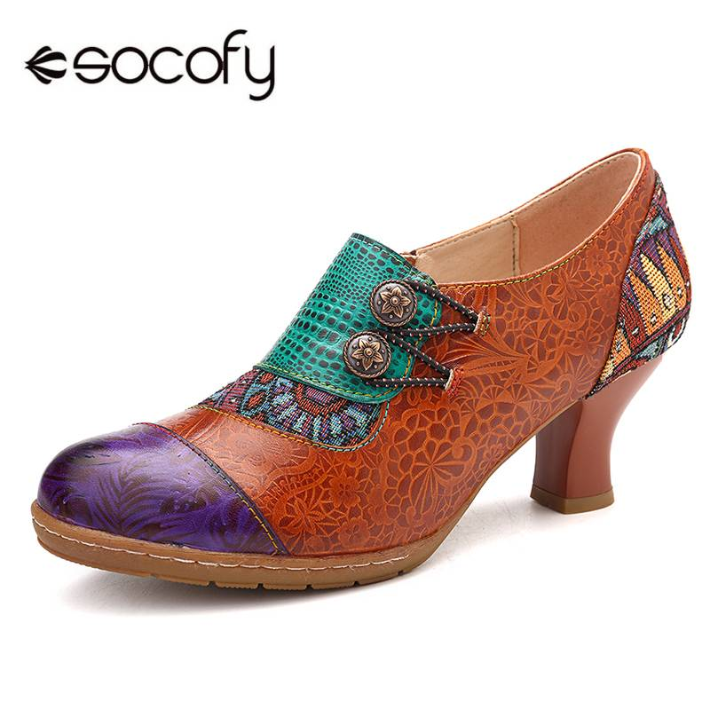 Socofy elegance ladies splicing button 정품 가죽 지퍼 레트로 펌프 슬립 펌프 여성용 힐 새로운 빈티지 힐 2019-에서여성용 펌프부터 신발 의  그룹 1