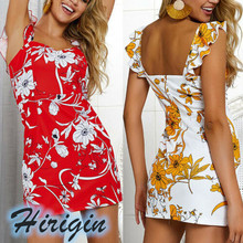 Summer Dresses New Women Boho Floral Bodycon Mini Dress Sleeveless Open Back Slim Print Casual Dress open back floral print romper