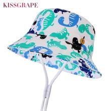 New 2019 Summer Baby Boys Sun Hat Blue Catroon Dinosaur Bucket Hats Kids Cotton Basin Outdoor Bob Caps Wholesale 1-4