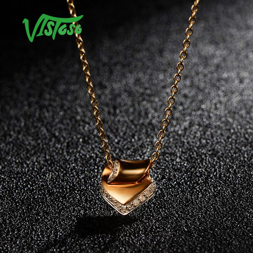VISTOSO Gold Pendants For Women Authentic 14K 585 Rose Gold Sparkling Diamond Engagement Wedding Heart Pendant Fine Jewelry