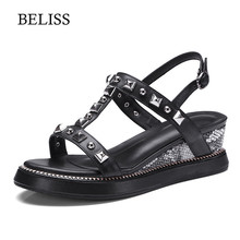BELISS 2019 Summer Women Slippers Wedges Comfortable Sandals Leather Slip On Platform Ladies Walking Shoes S42