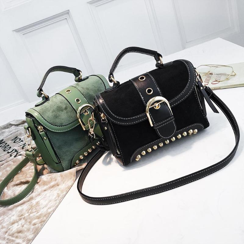Brown Rivetto Pelle Di Marca Famose Le 2018 In Borse coffee Donne light black A Borsa Sacchetto Tracolla Con Vintage Piccola Per Mano Delle Sac Green Signore a7w4q7