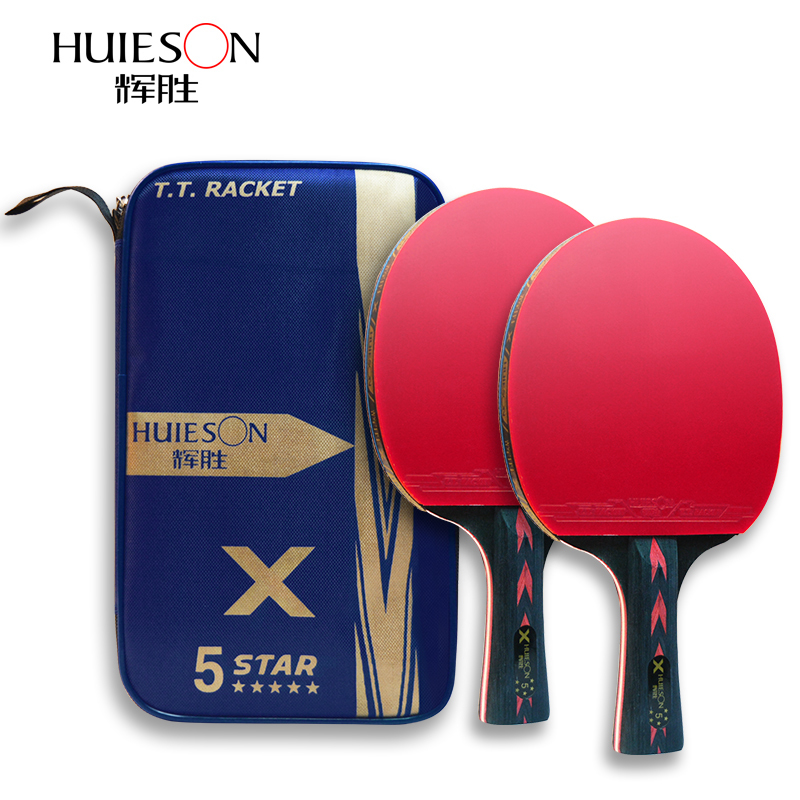 HUIESON 5 Star 2Pcs Carbon Table Tennis Racket Set Super Powerful Ping Pong Racket Bat For Adult Club Training New Upgraded
