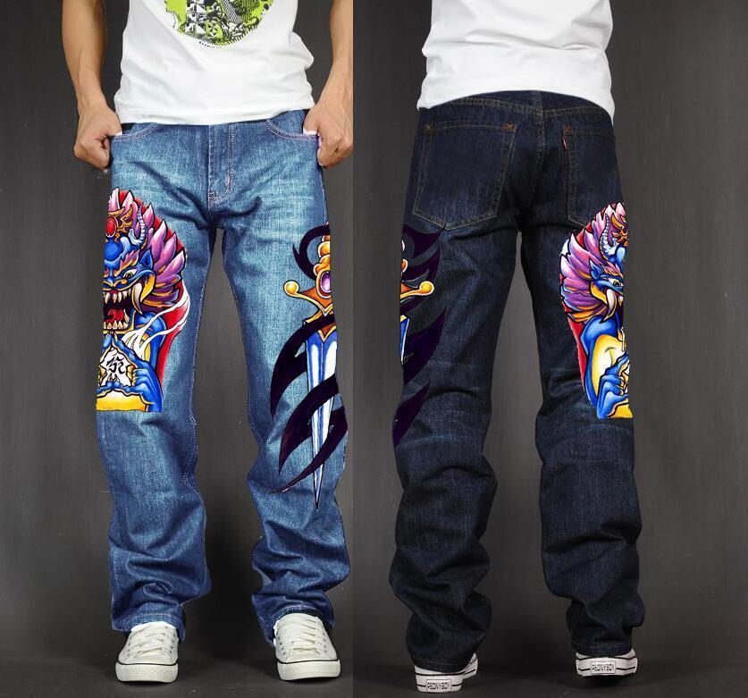 Men 39 s Long Pants Baggy Loose Fit Jeans Rap Hip Hop Skate Denim Print Trousers Straight Stretch Casual Trousers Pharaoh in Jeans from Men 39 s Clothing