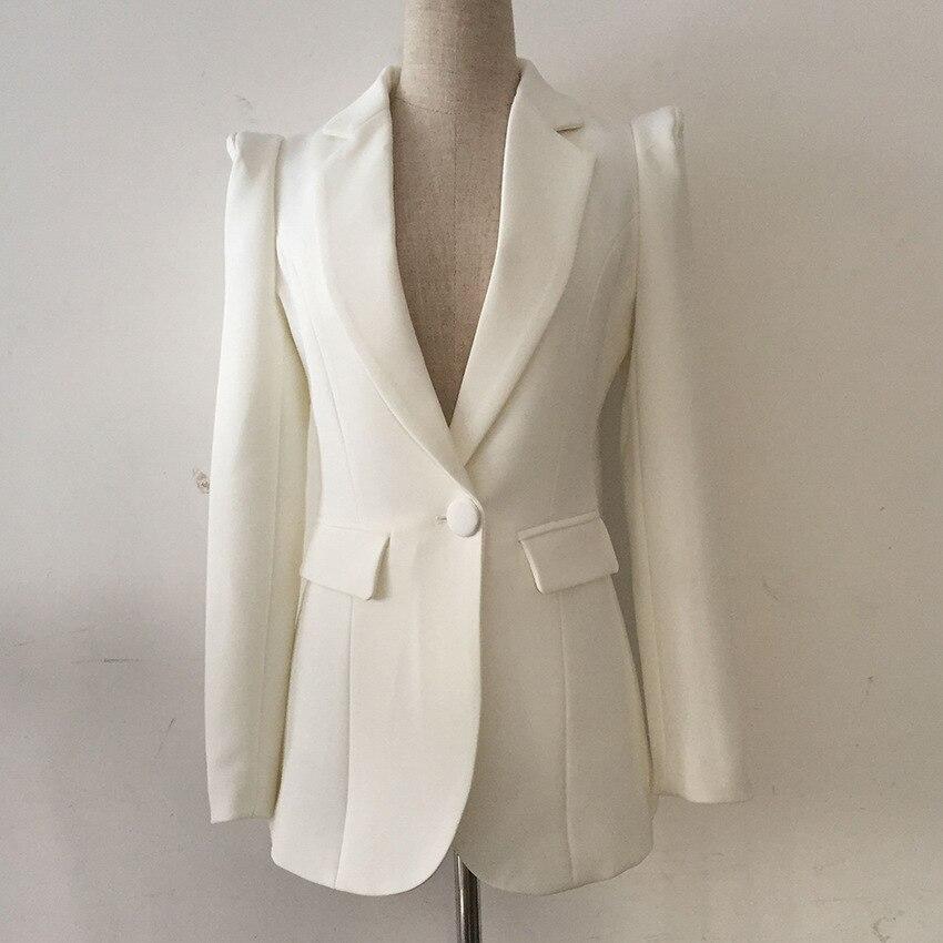 Veste Blazer blanche de haute qualité Feminino Office Lady manches longues Slim Fit deux poches femmes Blazers et vestes 1856