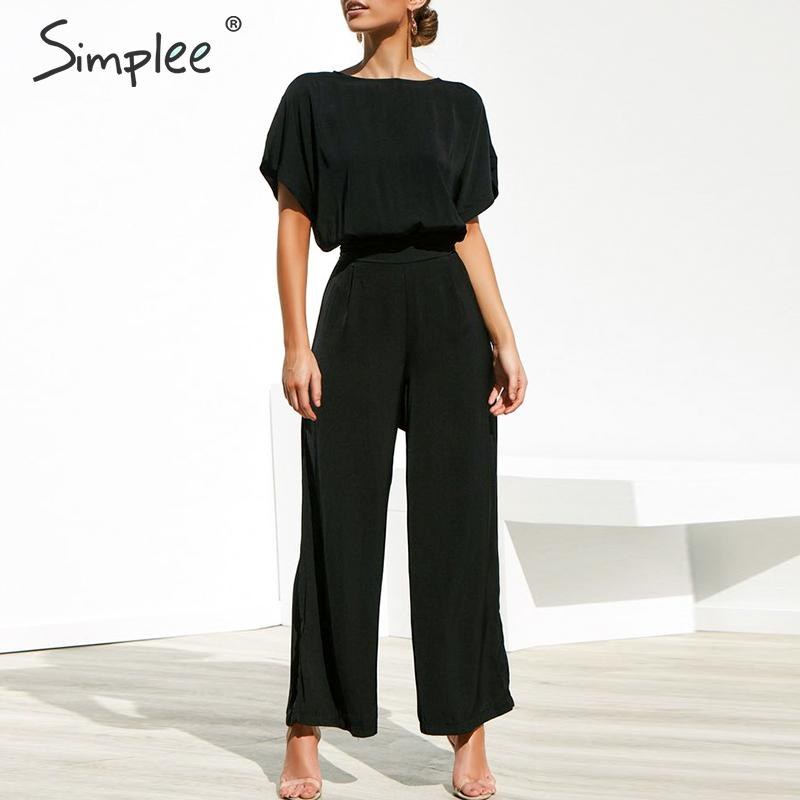 Simplee Vintage two pieces plus size women   jumpsuit   Summer short sleeve loose casual overalls Sexy office ladies black   jumpsuits