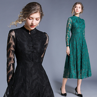2019 summer style Runway Lace dress fashion casual dress Elegant fur embroidery party dresses work vestidos lace green black