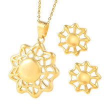 2019 Stainless Steel Flowers With Hollow Beads Jewelry Necklaces Sets Fashion Gold Pendant Earrings