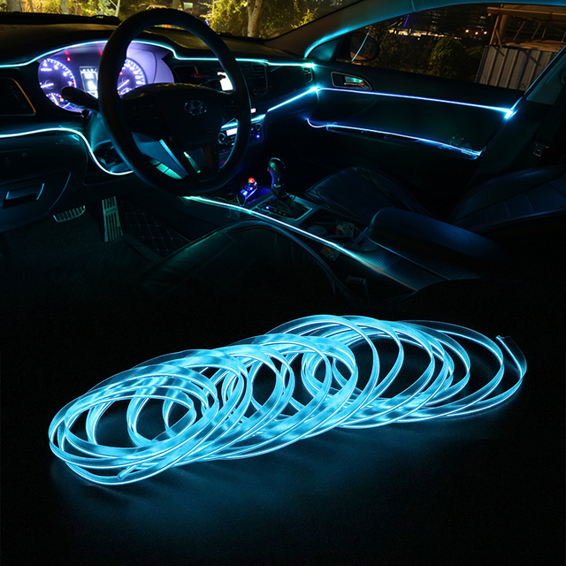 FORAUTO 5 Meters Car Interior Lighting Auto LED Strip EL Wire Rope Auto Atmosphere Decorative Lamp Flexible Neon Light DIY 2