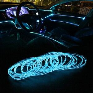 Image 3 - FORAUTO 5 метров освещение салона автомобиля Авто Светодиодная лента EL проводной трос Автомобильная атмосфера декоративная лампа гибкий неоновый свет DIY