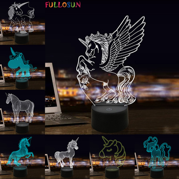Kawaii Unicorn 3D Illusion Night Light LED Lamp 7 Colors USB Desk Table Lamp for Kids Baby Nightlight Gift