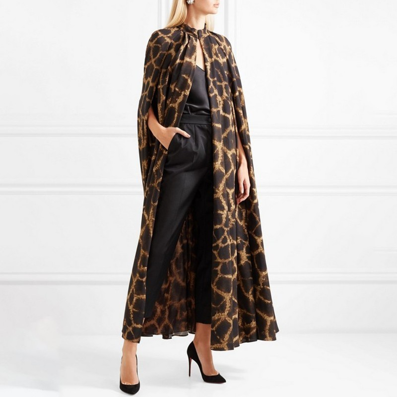 TWOTWINSTYLE Female Cardigan Coat O Neck Cloak Sleeve Print Leopard Maxi Cloaks For Women 2019 Autumn