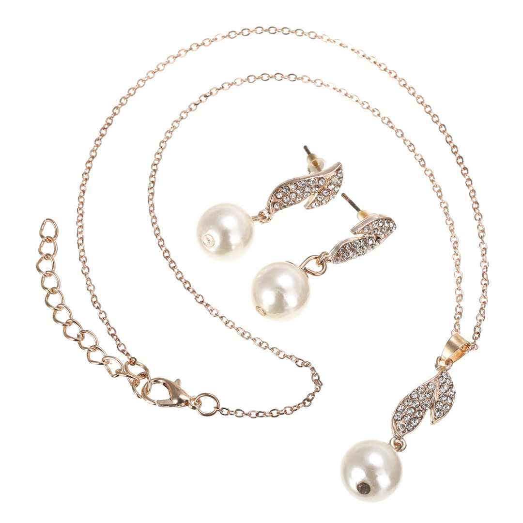 Elegant Simulated Pearl Zircon Crystal Long Drop Earring Necklace Jewelry Set For Women Wedding Accessories Engagement Gift