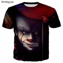 Horror Movie It 3D Print Wise Clown Joker Big Face Balloon Tshirt Men/Women Hip Hop Streetwear Tee T shirt Man Punk Clothes