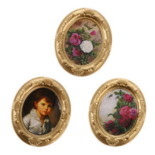 3 Pcs 1:12 Scale Dollhouse Miniature Doll House Family Decor Accessories Mini Picture Photo Frame(China)