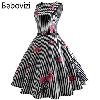 448bfbb3ea8 Bebovizi черный и белый в полоску с принтом розы большие вечерние качели  вечерние миди платья Роковой
