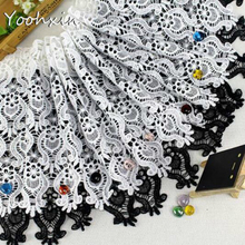 31CM Wide White Black Water Soluble Tulle Lace Ribbon Fabric Trim Collar Sewing DIY Women Dress Curtain Clothing Hem Decor