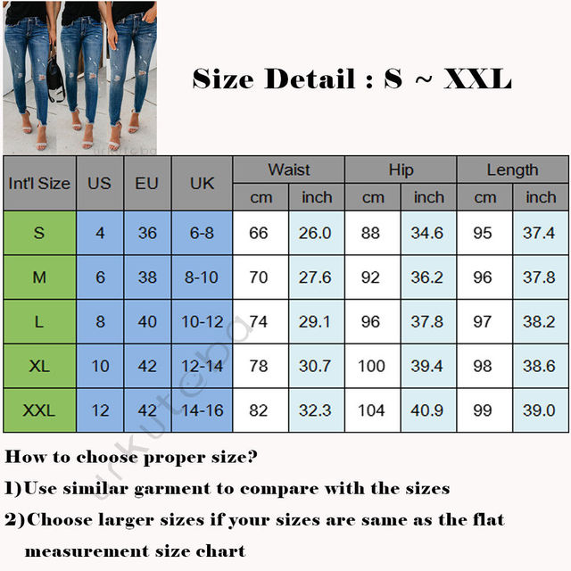 Newest Hot Women Stretch Ripped Distressed Skinny High Waist Denim Pants Shredded Jeans Trousers 4