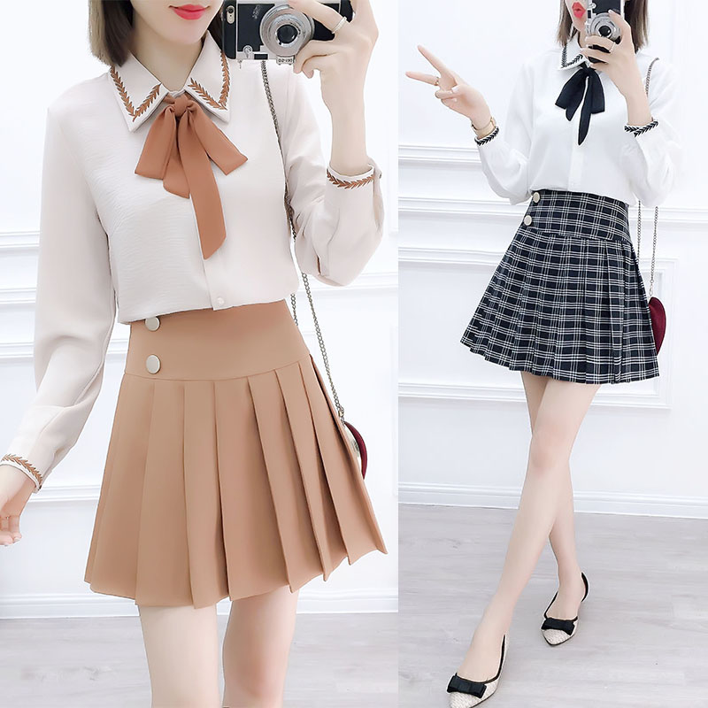 Women Korean Fashion Suits Embroidered Shirts Of Tall Waist Pleated Skirts Two-Piece Outfit Vestido Lady Top Bow Chiffon Clothes