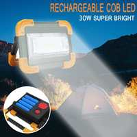 LED Floodlight 30W 4 Mode portable Flood light Spotlight 2000lm Waterproof Outdoor rechargeable light With 4 18650 battery