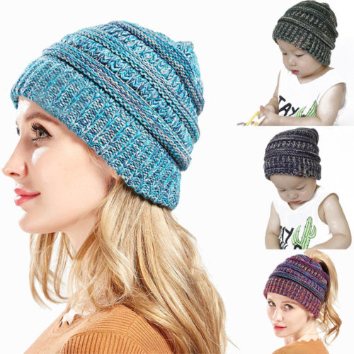 2019 Brand New Women's Girls Family Matching Mixed Color Knitted Hats Winter Warm Hats Stretch Hat Messy Bun Beanie Holey Caps