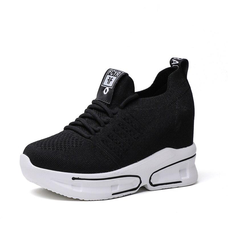 Wedge white 5 Femmes À forme Sneakers 8 Printemps Maille Black 2019 Augmenter Chaussures Respirant Décontractées Blanches Lacets Cm Hauteur Mode Plate D'été q10nwS