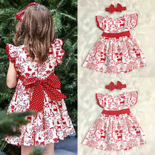 Xmas Newborn Girl First Christmas Dress Baby Girls Bowknot P