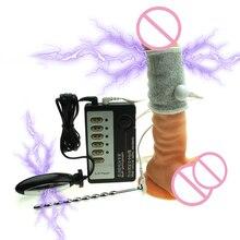 Electro Shock Pulse Vibrator Electric Urethral Catheter Dildo Penis Plug Sex Toys For Men Male Masturbator Sleeve