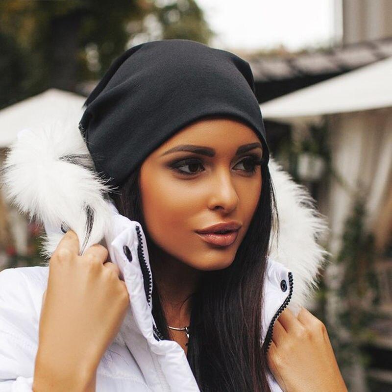 Solid Winter Knitted Beanie Hat Men Women Cotton Oversized Slouch Unisex Hat Cap Pop Fashion Beanies