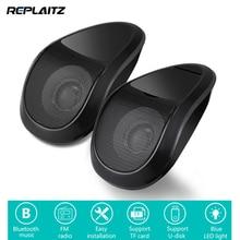 1 Pair Bluetooth Motosiklet Hoparlörler MP3 Ses Çalar Su Geçirmez FM Radyo TF Kart USB Stereo Müzik Çalar mavi LED ışık