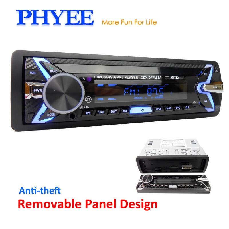 Amovible De Voiture Radio 1 Din Autoradio Bluetooth USB SD A2DP MP3 Stéréo Audio Systems Chef Unité 7 Couleurs Éclairage PHYEE 4785BT